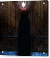 Young Woman In Black Lantern In Front Of Her Face Acrylic Print