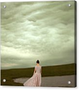Young Woman In Long Gown By Pond Acrylic Print