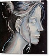 Young Woman In Profile-quick Self Study Acrylic Print