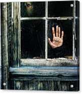 Young Woman Looking Through Hole In Window Acrylic Print by Jill Battaglia