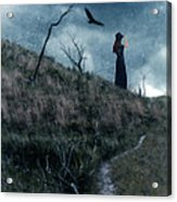 Young Woman On Creepy Path With Black Birds Overhead Acrylic Print