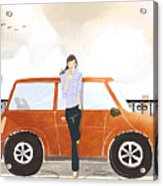 Young Woman Standing In Front Of Car Drinking Takeaway Coffee Acrylic Print by Eastnine Inc.