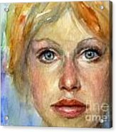 Young Woman Watercolor Portrait Painting Acrylic Print