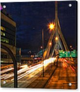 Zakim Bridge At Night Acrylic Print by Joann Vitali