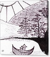 Zen Sumi Asian Lake Fisherman Black Ink On White Canvas Acrylic Print