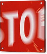 Zoom-effect Photo Of A Roadside Stop Sign Acrylic Print