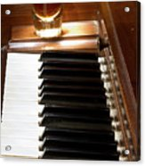 A Shot Of Bourbon Whiskey And The Black And White Piano Ivory K Acrylic Print