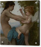 A Young Girl Defending Herself Against Eros Acrylic Print