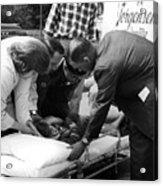 Ambulance Personnel Placing Girl Gurney April Acrylic Print