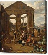 An Italianate Market Scene Acrylic Print