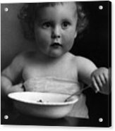 Baby Eating Cereal 1910s Black White Archive Boy Acrylic Print
