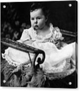 Baby In Chair 1910s Black White Archive Boy Kids Acrylic Print