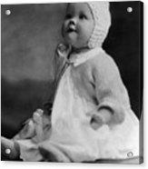 Baby Wearing Sweater Cap 1920s Black White Boy Acrylic Print