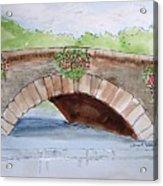 Baskets Of Flowers On Bridge To Westport Ireland Acrylic Print