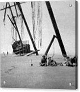 Beached Sailing Ship Circa 1900 Black White Acrylic Print
