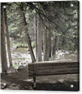 Bench By The Stream Acrylic Print
