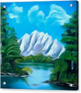 Blue Lake Mirror Reflection Dreamy Mirage Acrylic Print