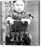 Boy Dressed Elf Sitting Backwards In Chair 1890s Acrylic Print