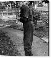 Boy In Baseball Uniform Posing Bat Circa 1898 Acrylic Print