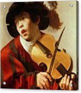 Boy Playing Stringed Instrument And Singing Acrylic Print