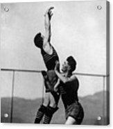 Boy Shooting Basketball 1910s Black White Ball Acrylic Print