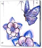 Butterfly Amongst The Flowers Acrylic Print