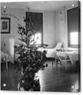 Christmas Tree In Hospital Ward 1923 Black White Acrylic Print