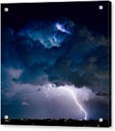 Clouds Of Light Lightning Striking Boulder County Colorado Acrylic Print