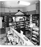 Counter In Drugstore 1959 Black White 1950s Acrylic Print