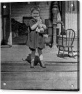 Girl Hugging Stuffed Animal Porch 1920s Black Acrylic Print