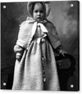 Girl Posing In Winter Coat 1903 Black White Acrylic Print