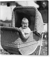 Happy Baby In Wicker Buggy Fall 1925 Black White Acrylic Print