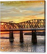 Harahan Bridge In Memphis,tennessee At Sunset Acrylic Print