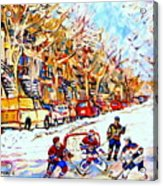 Hockey Game On Colonial Street  Near Roy Montreal City Scene Acrylic Print