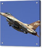 Iaf F-16a Fighter Jet On Blue Sky Acrylic Print