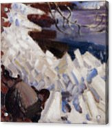 Ice Breaking On The Shores Of Kalela Acrylic Print