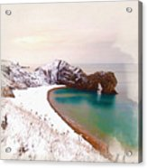 Illustration Of  The Durdle Door In Snow Acrylic Print