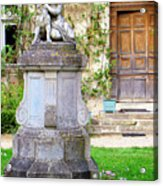Little Angel With A Dog In The Montresor Garden In The Loire Valley Fr Acrylic Print