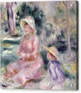 Madame Renoir And Her Son Pierre Acrylic Print by Pierre Auguste Renoir