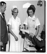 Man Male Handing Award Nurse February 1964 Black Acrylic Print