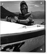 Man Male In Racing Boat June 12 1963 Black White Acrylic Print