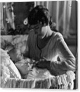 Mother Baby 1910s Black White Archive Bassinet Acrylic Print