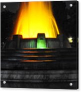Mulholland Fountain Reflection Acrylic Print by Clayton Bruster