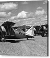 Navy Biplanes 19411945 Black White 1940s Airport Acrylic Print