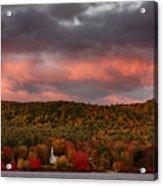 New England Fall Foliage Over The Small White Church Acrylic Print