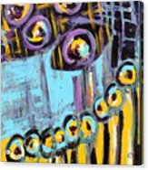 Night Moon Flowers Abstract Acrylic Print