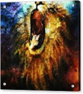 Painting Of A Mighty Roaring Lion Emerging From An Abstract Desert Pattern Pc Collage Acrylic Print