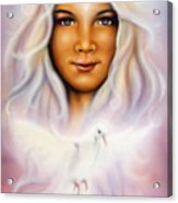 Painting Of A Young Girls Angelic Face With Radiant White Hair And A Shining Dove Acrylic Print