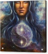 Painting On Canvas Of A Space Woman Goddess Lada As A Mighty Loving Guardian With Symbol  Jin Jang Acrylic Print