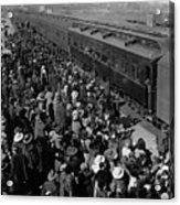 People Greeting Troop Train 19171918 Black White Acrylic Print
